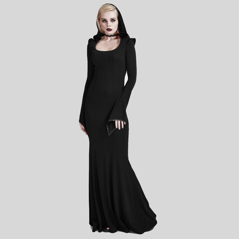 Zauberin Kleid schwarz mit Kapuze und Trompetenärmeln