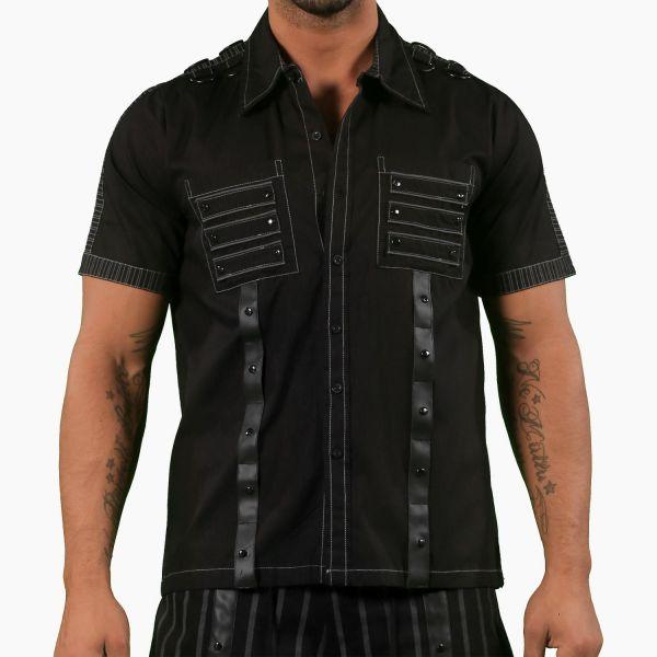 Cyber Goth Hemd mit Kunstleder und Radioactive Prints