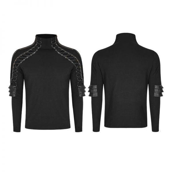 Steampunk Shirt mit Stehkragen und Schnürungen