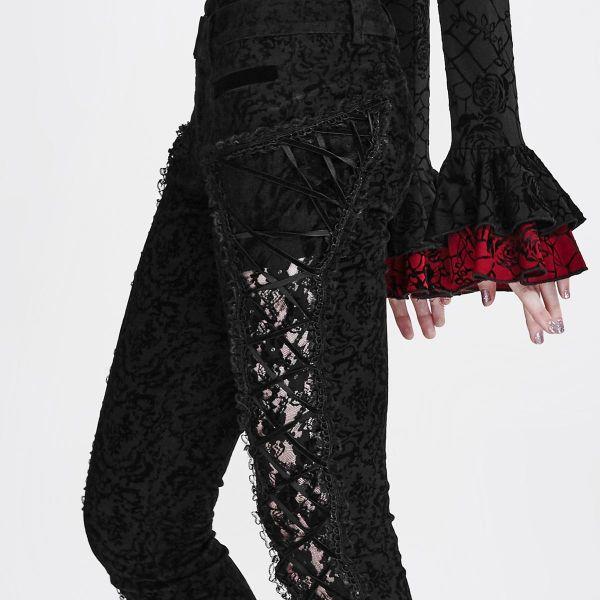 Hose in viktorianischem Brokat-Look mit Schnürung