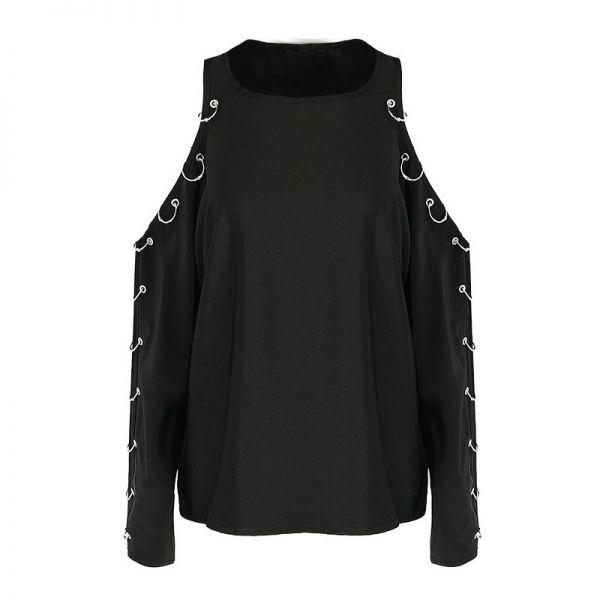 Cold Shoulder Gothic Oversize Shirt in gepierctem Look
