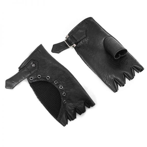 Kunstleder Biker Handschuhe mit Netz und Nieten
