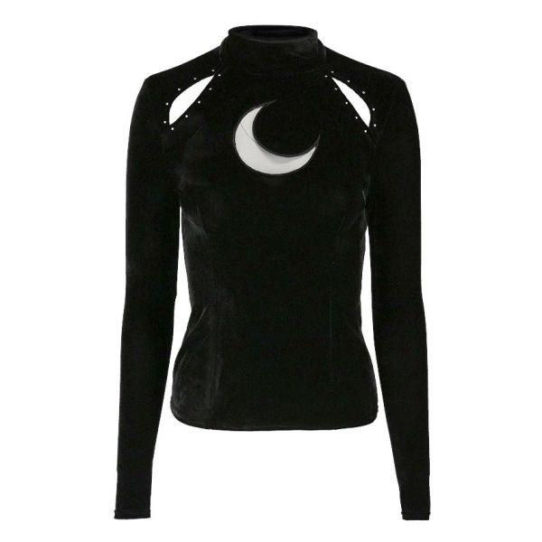 Samt Shirt mit Stehkragen und Sichelmond Netzeinsatz