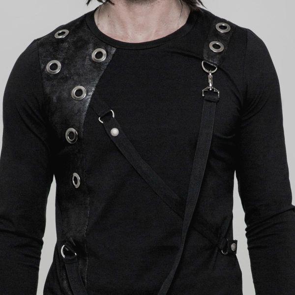 Gothic Style Slim Fit Shirt mit Bondages und Nieten