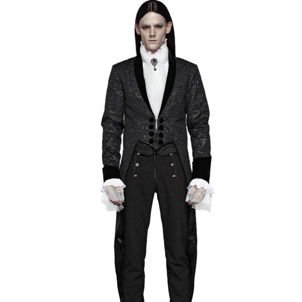 Vampir Frack im Brokat-Look mit Schalkragen