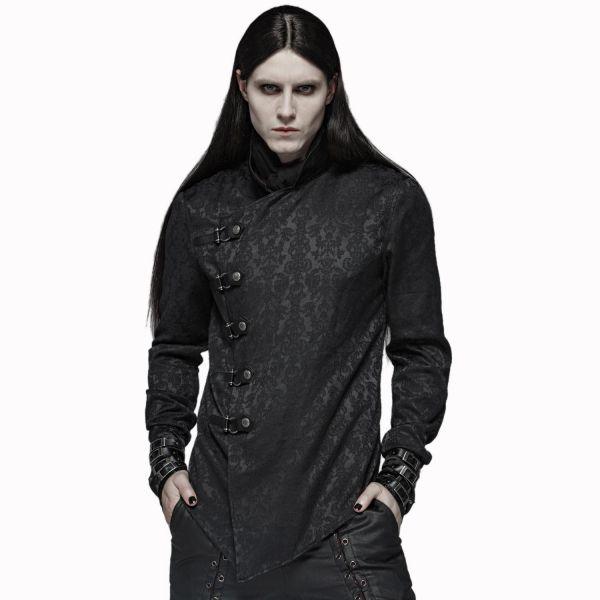Victorian Psycho Shirt mit Schnallen und Stehkragen