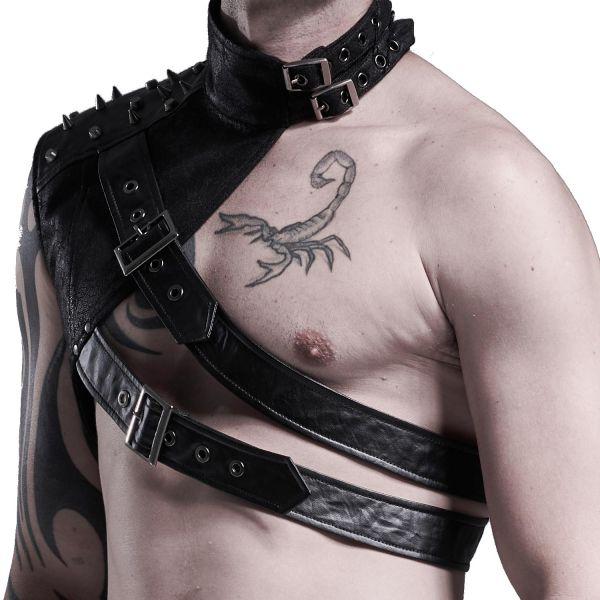 One Shoulder Harness im Leder-Look mit Nieten