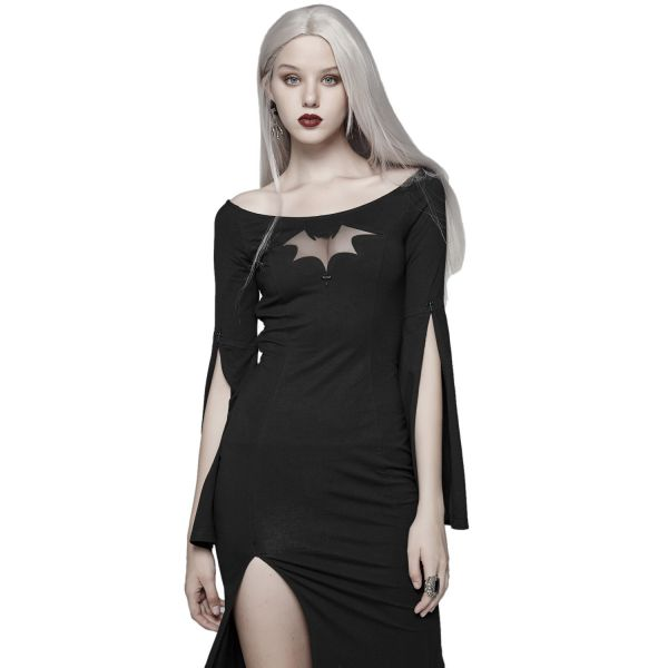 Geschlitztes Meerjungfrau Kleid mit Netz Fledermaus