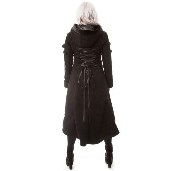 Schwarzer Mantel lang mit grosser Kapuze und Schnürung