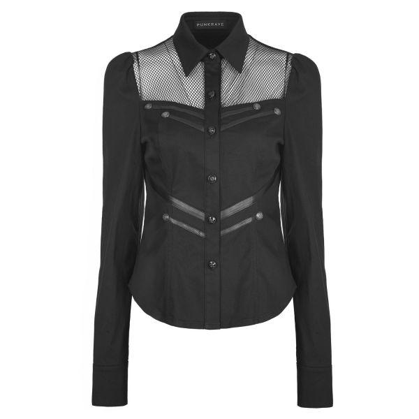 Bluse im Uniform Look mit Netzeinsatz