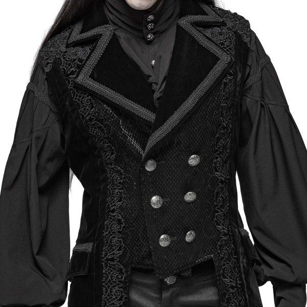 Gothic Style Gehrock Weste aus Samt mit Häkelspitze