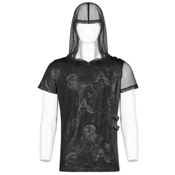 Gothic Shirt mit Kapuze und Netz im Layering-Look