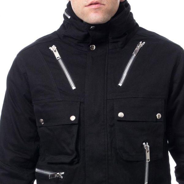 Übergangsjacke mit verdecktem Zipper und Stehkragen