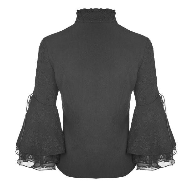 Viktorianische Bluse mit Stehkragen und Trompetenärmel