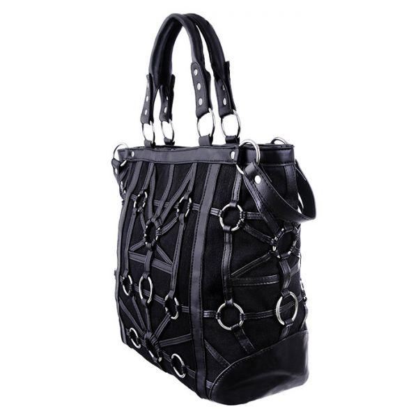 Schwarze Handtasche mit O-Ringen und Lederimitat Riemen