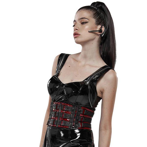 Cyber-Goth Corsagengürtel in rot-schwarzer Lederoptik