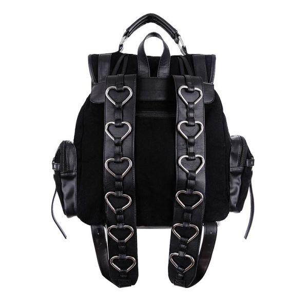 Rucksack Schultertasche Harness Look mit Metallherzen