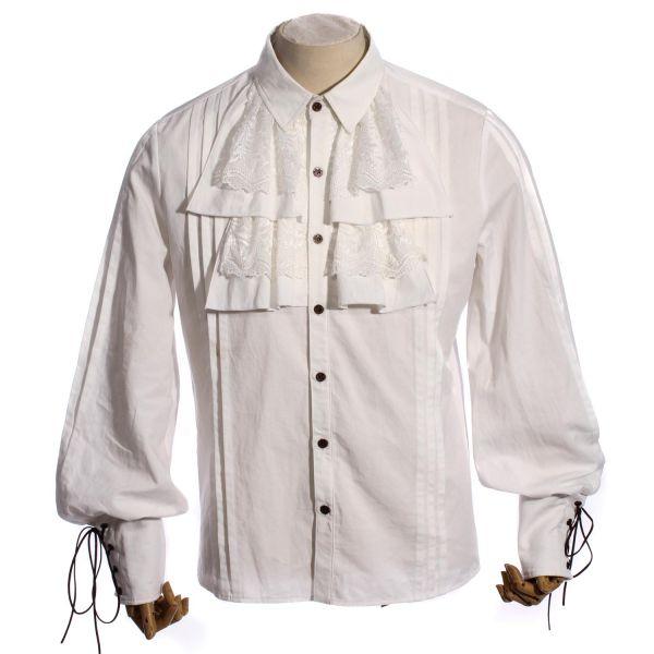 Steampunk Rüschenhemd mit geschnürten Arm Manschetten