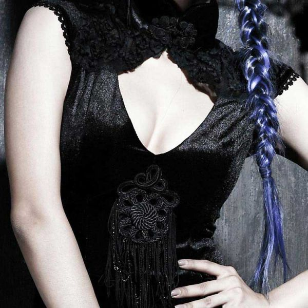 Samt Minikleid im Geisha Look mit Rückenschnürung