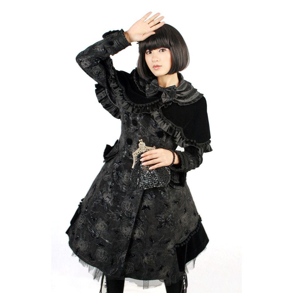 Gothic Lolita Mantel mit Cape und Schmetterling Aufdrucken