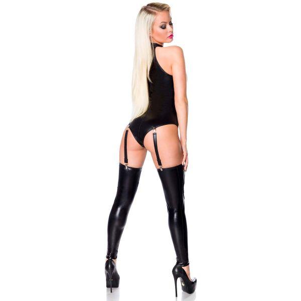 Sexy Outfit im Wetlook mit Body, Rock und Strapsen