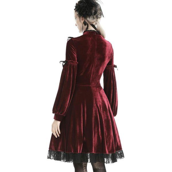 Blutrotes Samt A-Linie Kleid mit Kreuz Ornament und Spitze