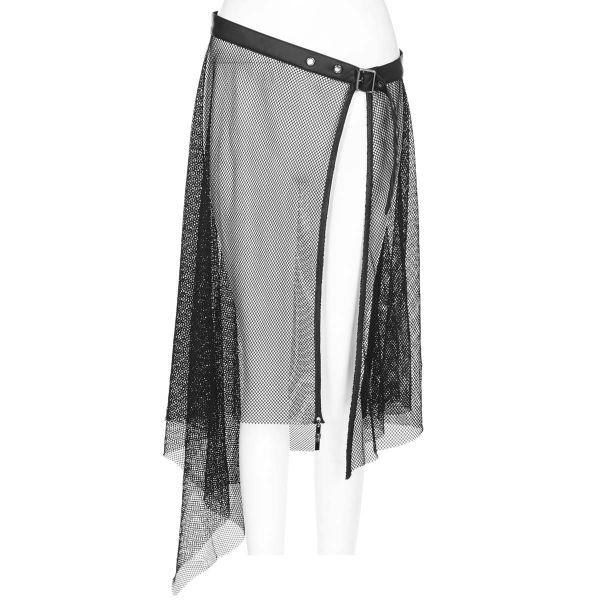 Netz Schürzenrock mit Nietengürtel