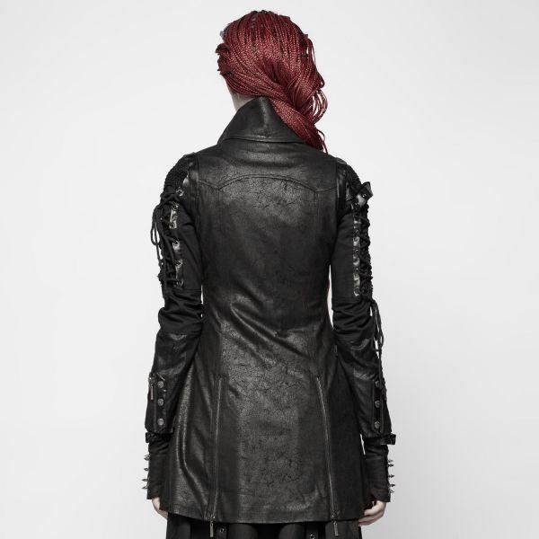 Schwarzer Steampunk Mantel in Lederoptik mit Schnürungen