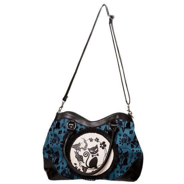Gothic Lolita Handtasche blau-schwarz - Cameo Cat