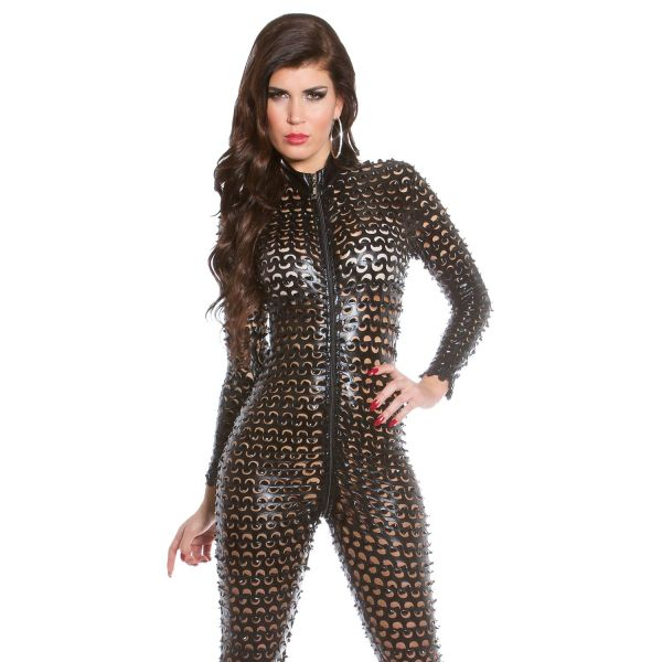 Wetlook Catsuit mit 2-Wege Zipper im Destroyed Look