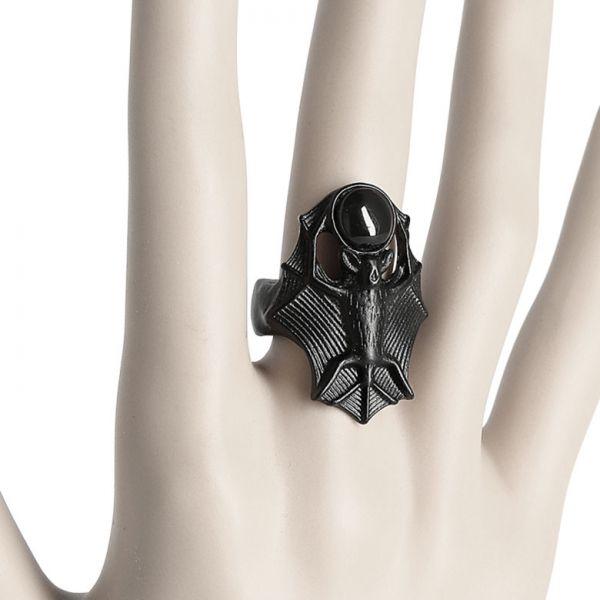Fledermaus Statement Ring mit schwarzem Schmuckstein