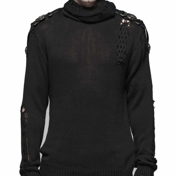 Heavy Distressed Strick Pullover im Military Style