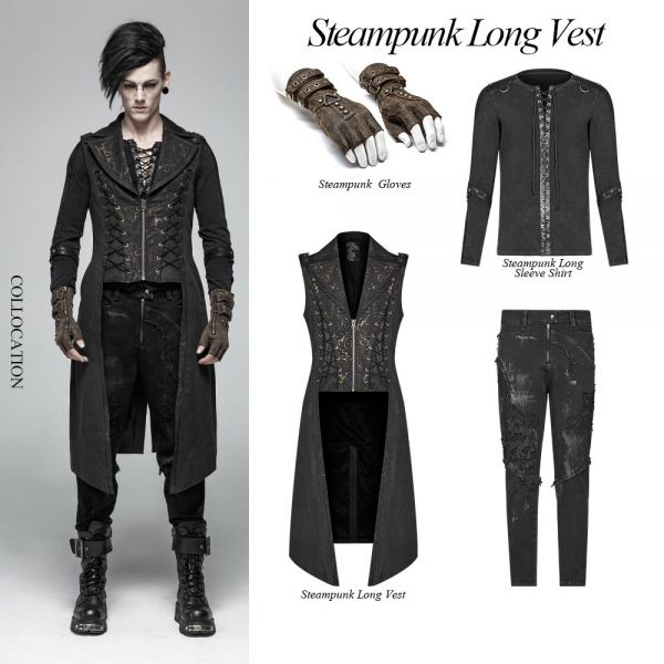 Dark Romantic Long Weste mit Reverskragen und Zipper