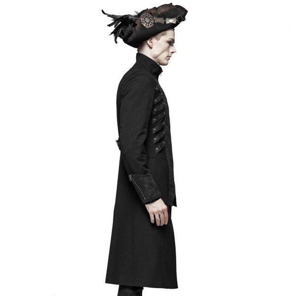 Gothic Pirat Mantel mit Stehkragen und Arm Manschetten