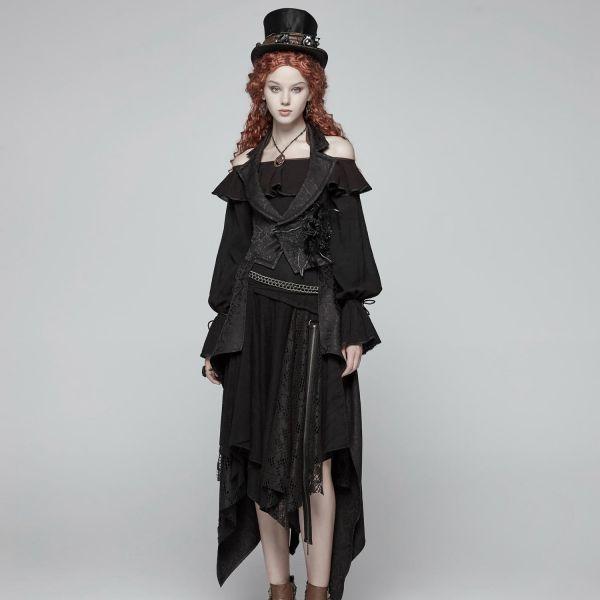 Gothic Bettlerrock im Zipfel-Look mit Netz und Spitze
