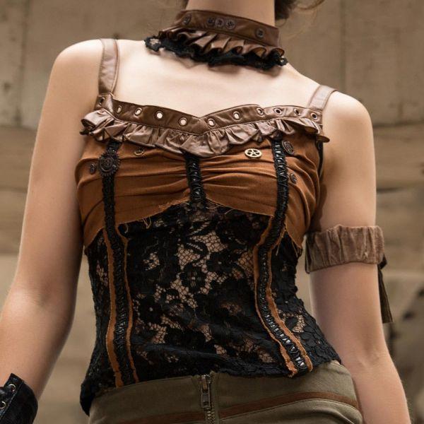 Spitzentop im Steampunk Style mit Halsband und Rüschen