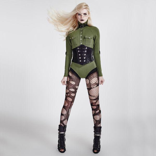 Bodybluse grün im Uniform Look mit Stehkragen