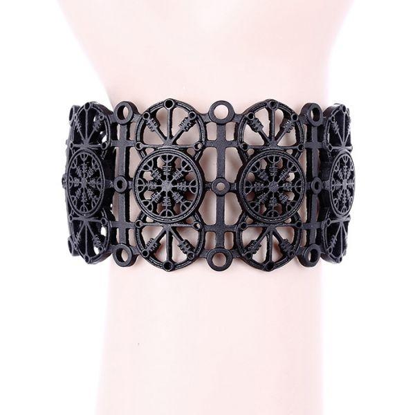 Armband schwarze Krähe und Runen im Gothic Look