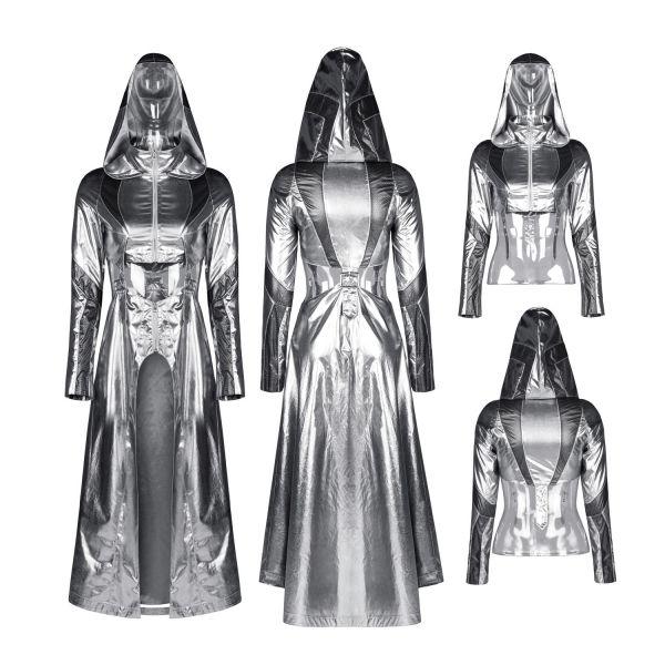 Cyber Bolero Mantel im silber Metallic Look