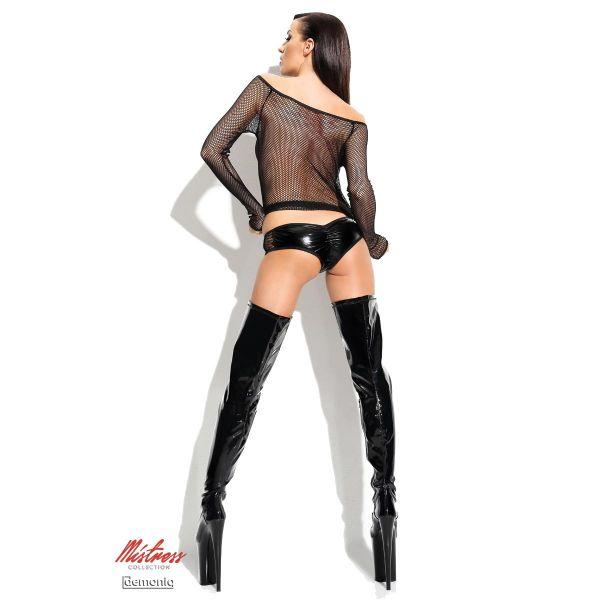 Heisses Netz Club Minikleid mit Panty im Lack Wetlook