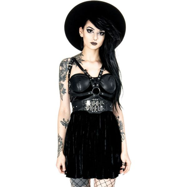 Moon Child Harness Samt Minikleid mit Kunstleder Cups