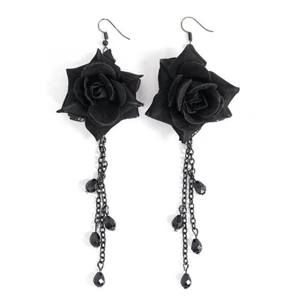 Schwarze Rosenblüte Ohrhänger mit Schmucksteinen