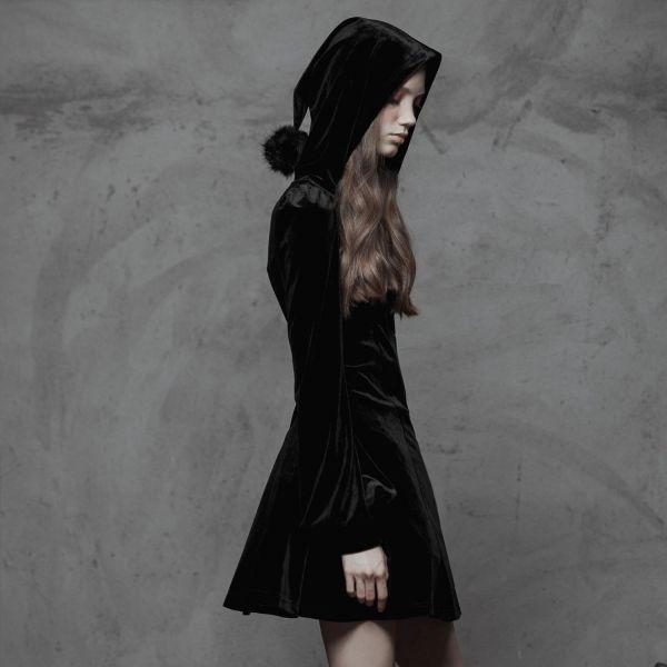 Samt A-Linie Mantelkleid mit Zipfelkapuze
