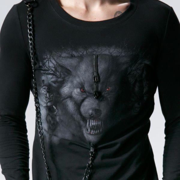 Langarm Shirt mit Kette und Werwolf Aufdruck