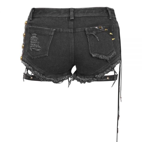 Hotpants mit Lederlook Applikationen und Beinholstern