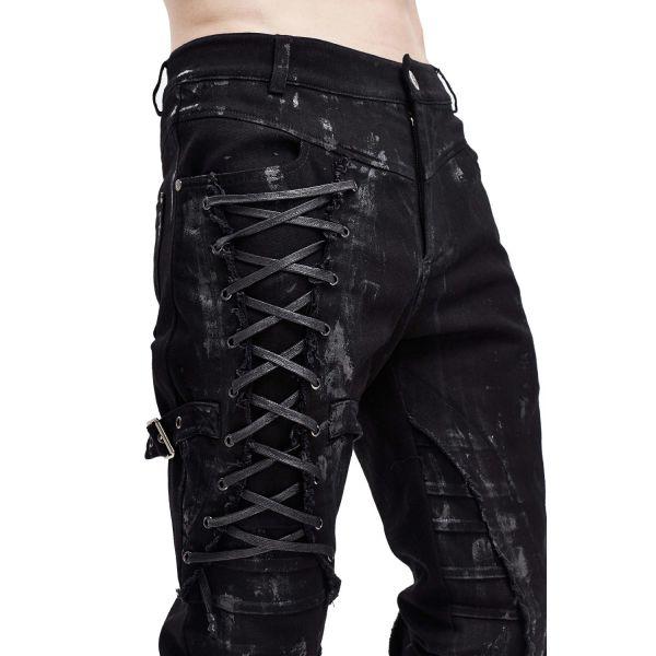 Rock & Metal Denim Hose in zerschlissenem Look