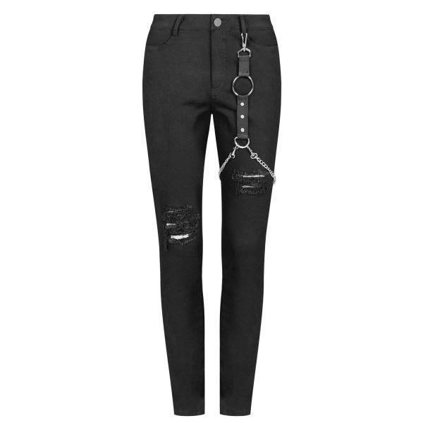 Zerfetzte Punk Skinny Jeans mit Bondage Beinholster