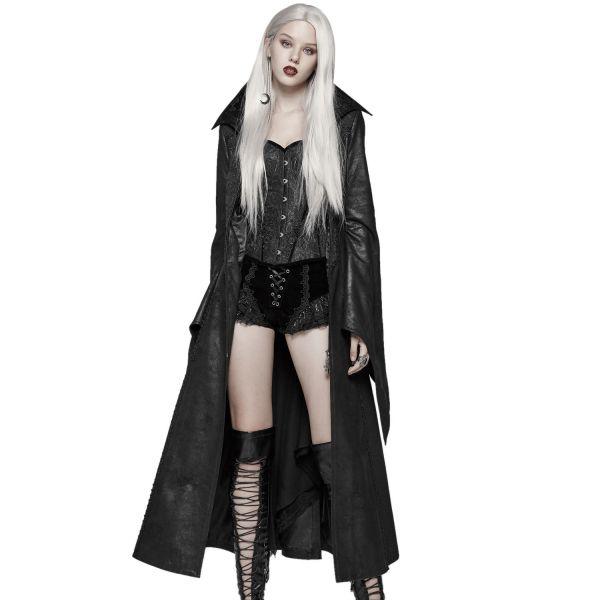 Lederimitat Mantel mit Häkelspitze im Vampire Look