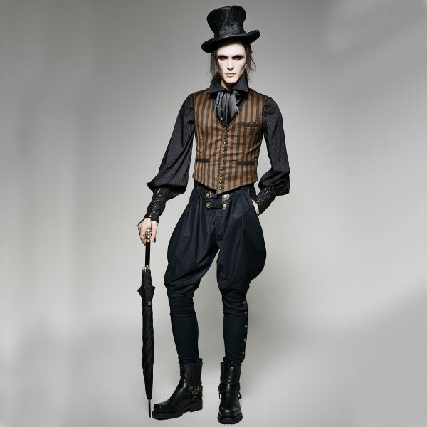 Steampunk Weste gestreift