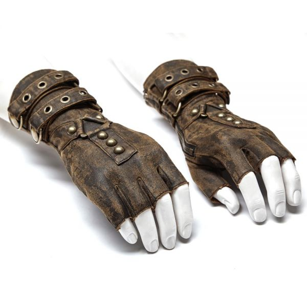 Fingerlose braune Steampunk Handschuhe im Warrior Look